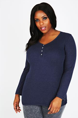 Navy Marl Long Sleeved & Henley Neck Top