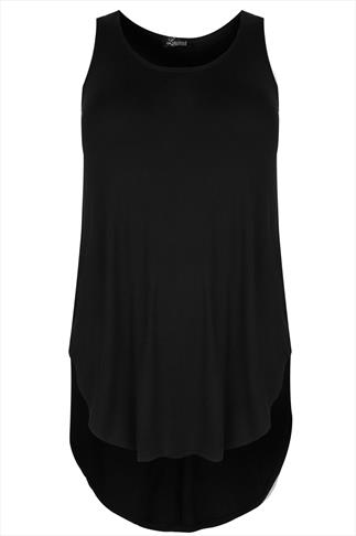 Black Longline Jersey Top With Curved & Dipped Back Hem