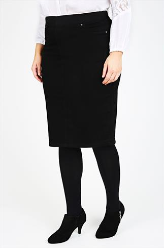 Black Denim Pull On Pencil Skirt