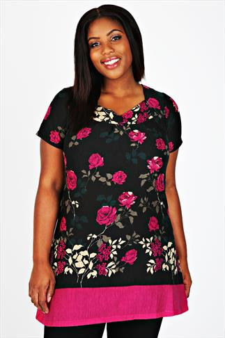 Black And Pink Rose Print Longline Top Sweetheart Neckline