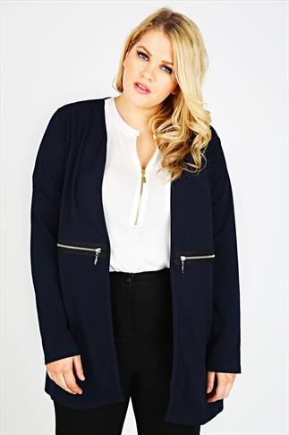 Navy Longline Waffle Jacket With Zip Details