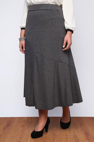 Grey Jersey Maxi Skirt With Abstract Panel Detail