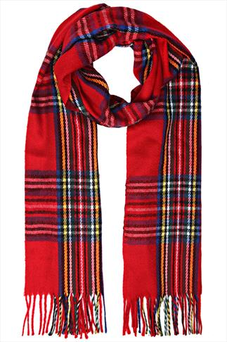Red & Multi Tartan Soft Brushed Scarf With Fringing