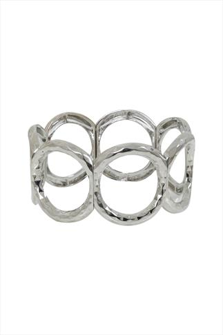 Silver Circle Textured Stretch Bracelet