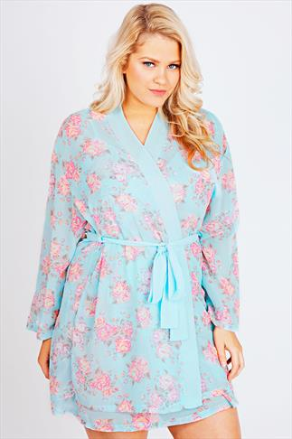 Blue & Pink Floral Print Chiffon Nightwear Kimono Gown