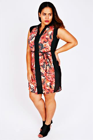 Black & Red Leaf Print Tunic Dress With Tie Waist