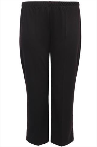 Black Pull On Ponte Bootcut Trousers - PETITE