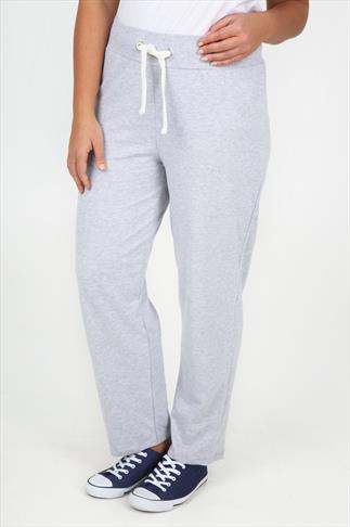 Grey Marl Straight  Leg Joggers With Crown Detail