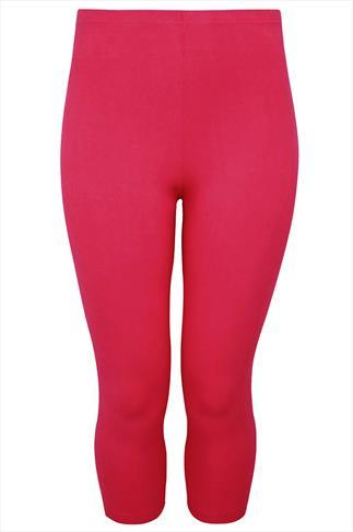 Hot Pink Cotton Elastane Cropped Leggings