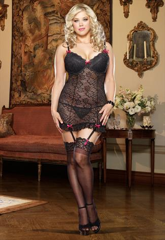 DREAMGIRL Black Lace Garter Slip and Thong Set