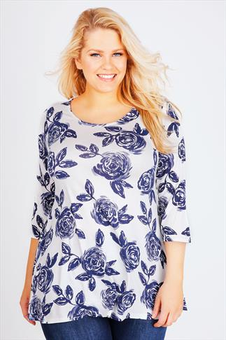 Navy & White Rose Print Longline Top