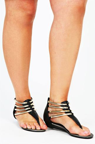 Black Gold Bar Trim Gladiator Low Wedge Sandals In EEE Fit