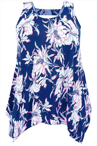 Blue Lily Floral Print Top With Hanky Hem And Back Cut Out