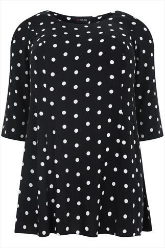 Black & White Polka Dot Print Sleeved Swing Blouse