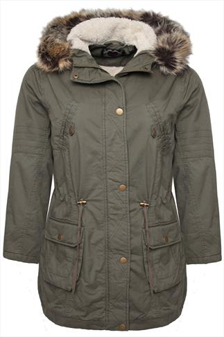 Khaki Cotton Twill Parka With Fur Trimmed Hood And Fleece Lining