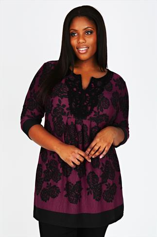 Black & Dark Pink Knitted Longline Top With Floral Print