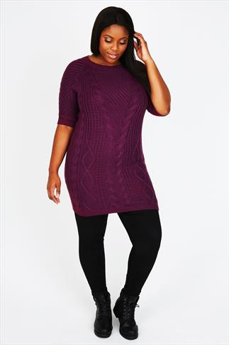 Purple Cable Knit Tunic Dress With Half Sleeves
