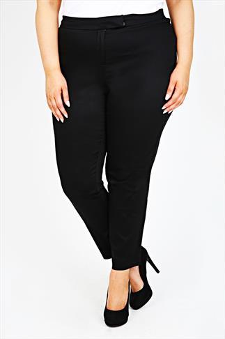 Black Cotton Sateen Slim Leg Trousers With Stretch Waist