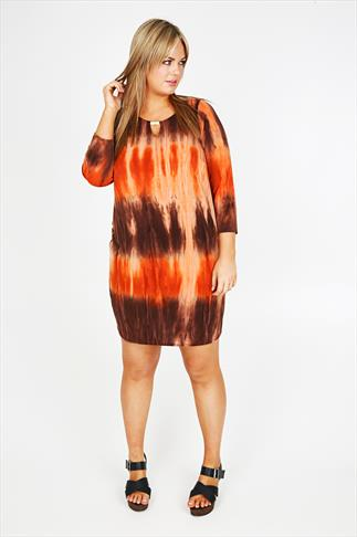 Brown And Orange Tie Dye Print Tunic With Keyhole Detail