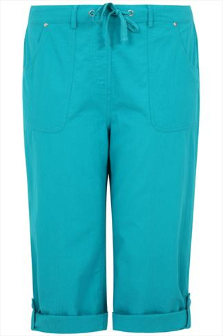 Aqua Blue Cool Cotton Roll-Up Crop Trousers With Stud Detail