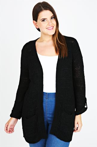 Black Edge to Edge Knitted Cardigan With Roll Up Sleeves