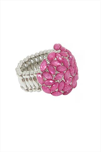 Silver Stretch Ring With Pink Gem Cluster Detail