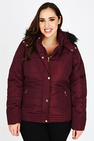 Merlot Red Puffa Coat with Fur Trim Hood