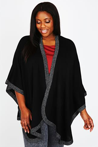 Black Knitted Wrap With Silver Metallic Trim