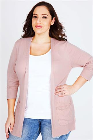 Pastel Pink Longline Cardigan With Laser Cut Pocket & Cuff Details