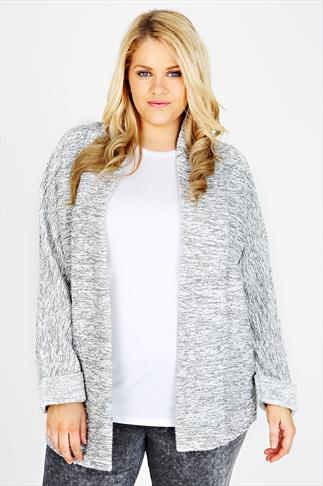 Grey And White Boucle Boyfriend Jacket With Silver Thread
