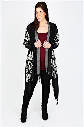 Black And Stone Aztec Knitted Wrap With Fringing Detail
