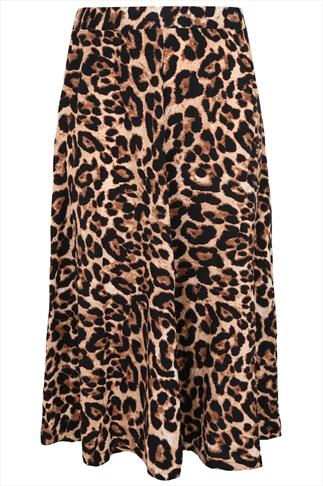 Leopard Print Maxi Skirt With Panel Detail