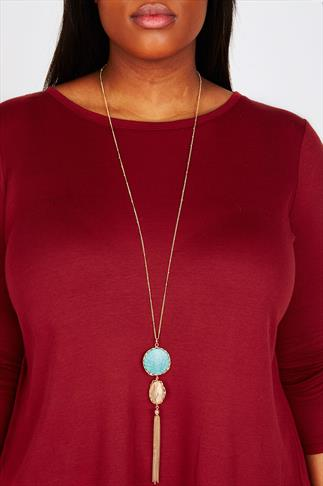 Gold Long Chain Necklace With Stone and Tassle Pendant