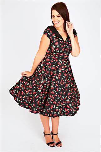 HELL BUNNY Black & Red Cherry Print Dress