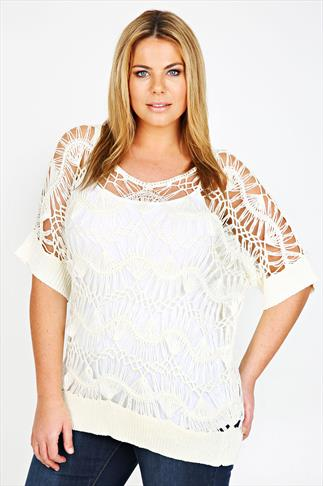 Cream Open Knit Top With Ribbed Cuffs And Hem