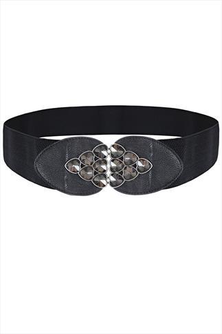 Black Jewel Heart Clasp Elasticated Waist Belt