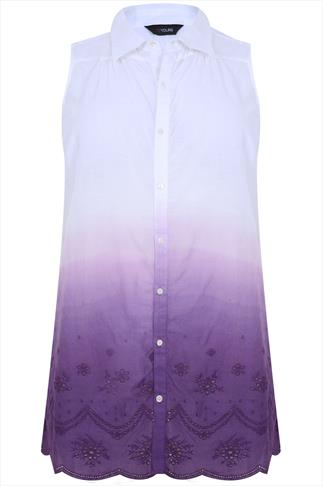 White & Purple Ombre Sleeveless Blouse With Broderie Detail