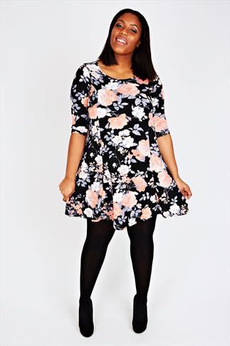 Black & Peach Floral Print Sleeved Skater Dress