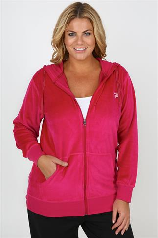 Hot Pink Zip Up Velour Hoody With Crown Detail