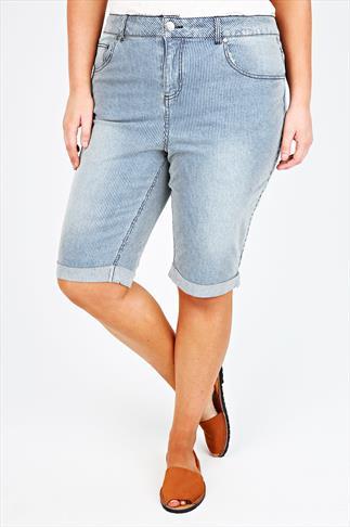 Denim Blue And Cream Striped Shorts