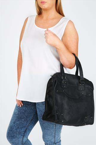 Black Tote Bag With Metallic Studs And Shoulder Strap