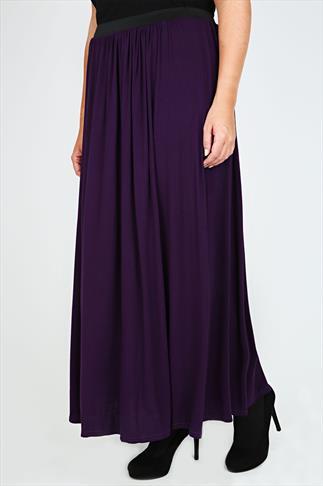 Purple Maxi Skirt With Elasticated Waistband