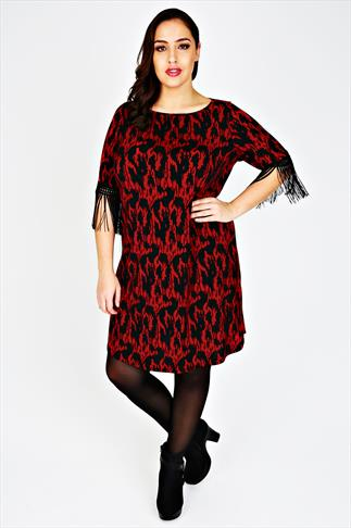 Red & Black Printed Dress With Fringed Sleeves
