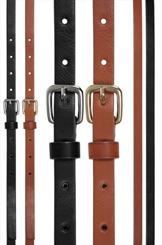 Black And Brown Skinny Waist Belt - 2 Pack