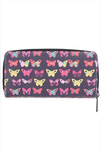 Dark Purple Faux Leather Butterfly Print Zip Purse