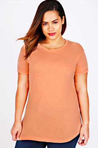 Peach Short Sleeve Boyfriend T-Shirt With Pocket Detail