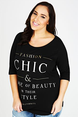 "Black 3/4 Sleeve ""Fashion Chic"" Slogan Print T-Shirt"