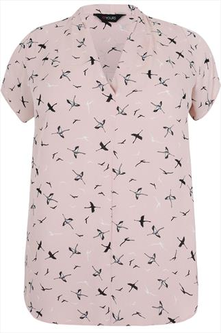 Blush Pink Bird Print Short Sleeved Blouse With Pleat Detail