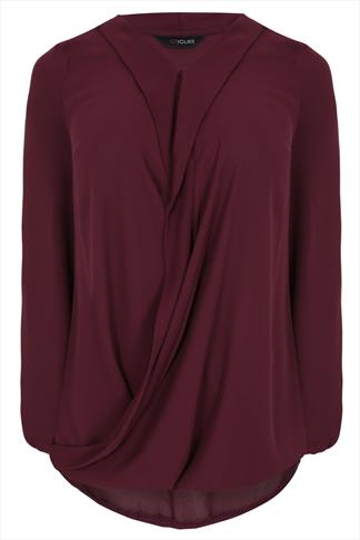 Wine Chiffon Wrap Blouse With Long Sleeves