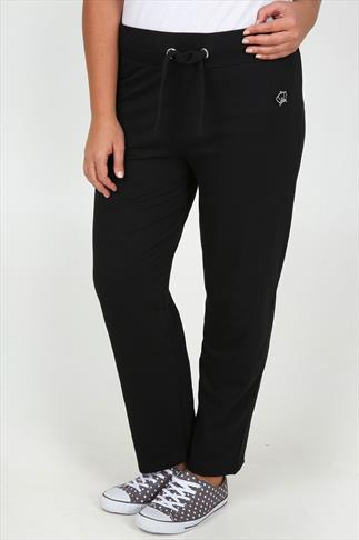 Black Straight Leg Joggers With Crown Detail